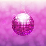 Pink disco ball. For dance party isolated on gradient background with light cloudy circles like bokeh effect Royalty Free Stock Photo