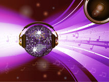 Pink disco ball with headphone and speaker Stock Image