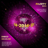 Pink disco ball 2014 party background Royalty Free Stock Photography