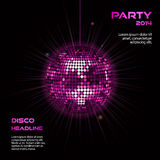Pink disco ball party background2. Disco ball background in glowing pink on black with sample text vector illustration