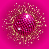 Pink disco ball and stars Stock Images