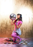 Pink Disco Girl Stock Photo