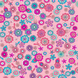 Pink Ditsy Flowers Seamless Re. Peat Pattern Vector Illustration Stock Photography