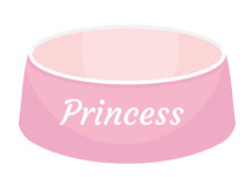 Pink dog food bowl with an inscription Princess icon, flat, cartoon style. Plate for animals. Isolated on white Stock Images