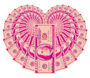 Pink dollar heart Royalty Free Stock Photography