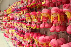 Pink dolls. Hanging in supermarket Jumbo in Bucharest,Romania Royalty Free Stock Photo