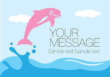 Pink dolphin. Splashing out of the water surface. Vector layout design Royalty Free Stock Photo