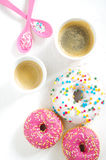 Pink donut and coffee Stock Image