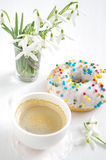 Pink donut and coffee Stock Photography