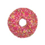 Pink donut with colorful sprinkles isolated on white background. royalty free stock photo