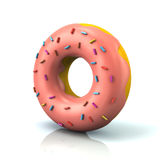 Pink donut with decorative sprinkles Stock Photography