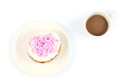 Pink donut. On dish with white background Royalty Free Stock Photo