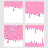 Pink donut glaze background set. Liquid sweet flow, tasty dessert topping with colorful stars and sprinkles. Ice cream drips. Vect Royalty Free Stock Photos