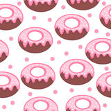 Pink donut glaze and powder seamless texture. Doughnut background. Baby, Kids wallpaper and textiles. Vector illustration.  stock illustration