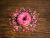 Pink donut glaze Royalty Free Stock Images