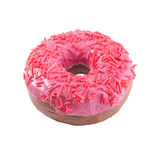 Pink donut isolated. Donut with sprinkles isolated on white background top view Stock Image