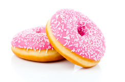 Pink Donut. Isolated On White Background Stock Image