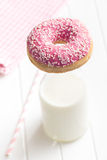 Pink donut and milk Royalty Free Stock Photo