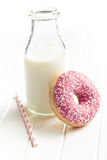 Pink donut and milk Royalty Free Stock Photos