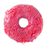 Pink donut. Donut with sprinkles  on white background top view Royalty Free Stock Image