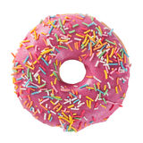 Pink donut. Donut with sprinkles on white background top view royalty free stock photography
