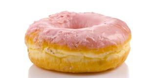 Pink donut on white background Stock Image