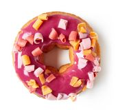 Pink donut isolated on white, from above Stock Photography