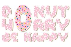 Pink Donut worry be happy royalty free stock image