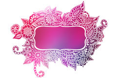 Pink doodle colored frame Stock Images