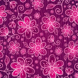 Pink doodle flowers seamless pattern Stock Photos