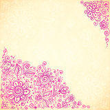 Pink doodle flowers vector greeting card Stock Images