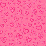 Pink doodle hearts vector seamless pattern Stock Image