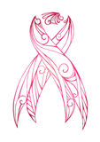 Pink doodle ribbon with Boho pattern. Fight against breast cancer. Vector element for your creativity Stock Photos
