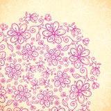 Pink doodle vintage flowers circle Royalty Free Stock Photo