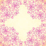 Pink doodle vintage flowers vector background Stock Photo