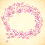 Pink doodle vintage flowers vector speech bubble Royalty Free Stock Images