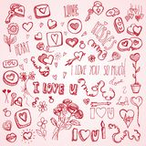 Pink doodles for Valentine's day. Cute pink hand drawn doodles for Valentine's day Royalty Free Stock Image