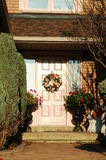 Pink Door. With pretty wreath royalty free stock images