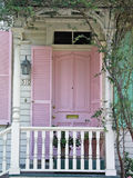 Pink door. With short porch Royalty Free Stock Photography