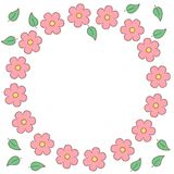 Pink doted sakura flowers and leaves circle frame, vector. Background Stock Image