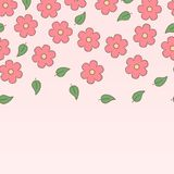 Pink doted sakura flowers and leaves seamless border, vector. Background Stock Images