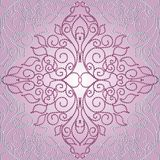 Pink dotted damask seamless pattern. Floral hand drawn damask seamless pattern. Vector light pink background wallpaper illustration with 3d vintage paisley royalty free illustration