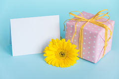Pink dotted gift box, yellow gerbera flower and empty card over a blue background. Stock Photography
