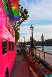 Pink double decker bus in London, UK Stock Photos