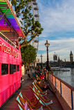 Pink double decker bus in London, UK Stock Photography