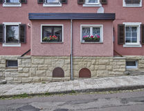 Pink double house facade, Altenburg Germany Stock Images