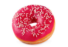 Pink doughnut. Doughnut in pink glazed isolated on white royalty free stock images