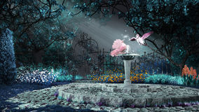 Pink dove on the fountain Royalty Free Stock Images
