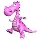 Pink Dragon Cartoon. Pink female Dragon Cartoon on a white background Stock Image