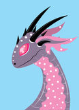Pink dragon with ears and horns. Stock Photos